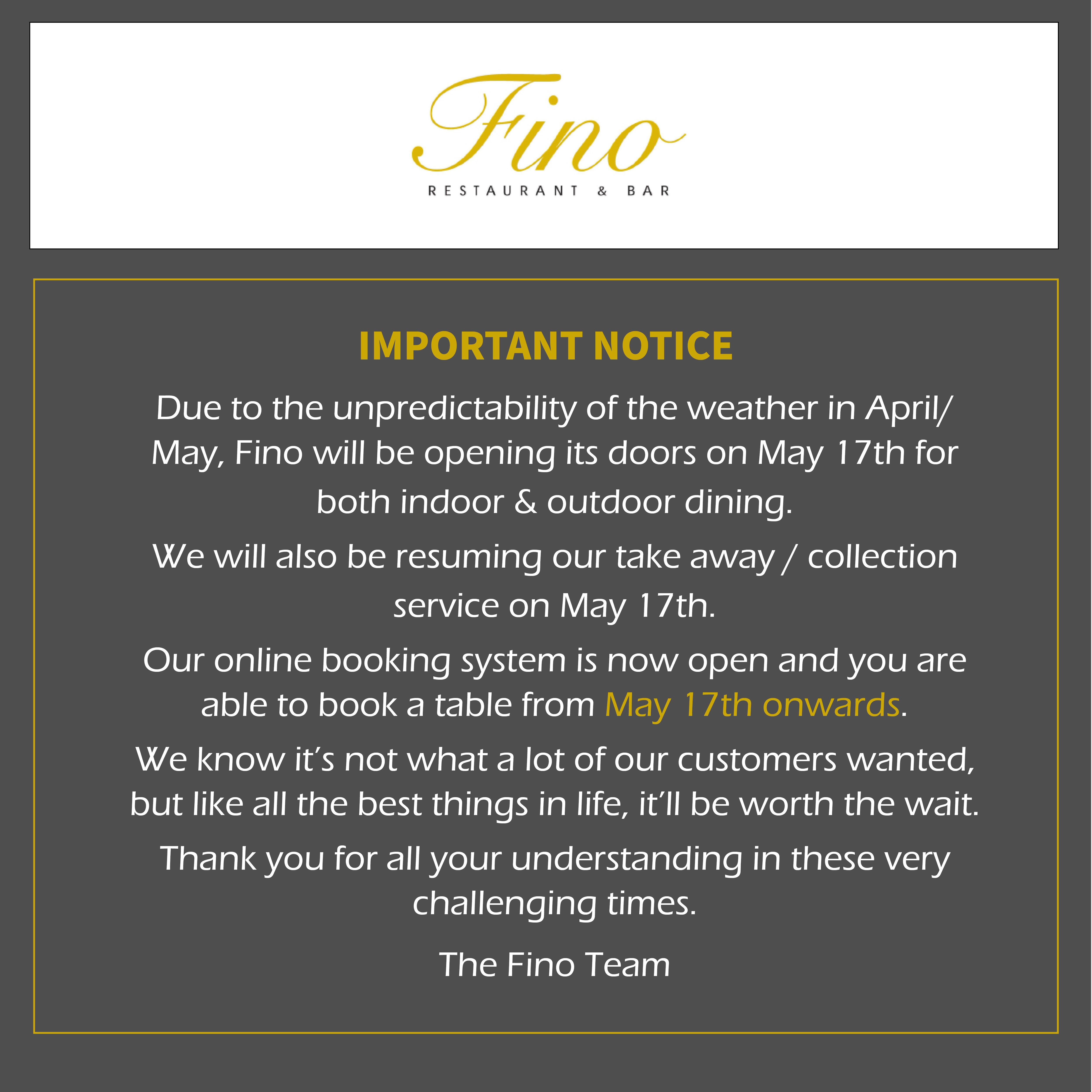 Fino Restaurant Update April 2021